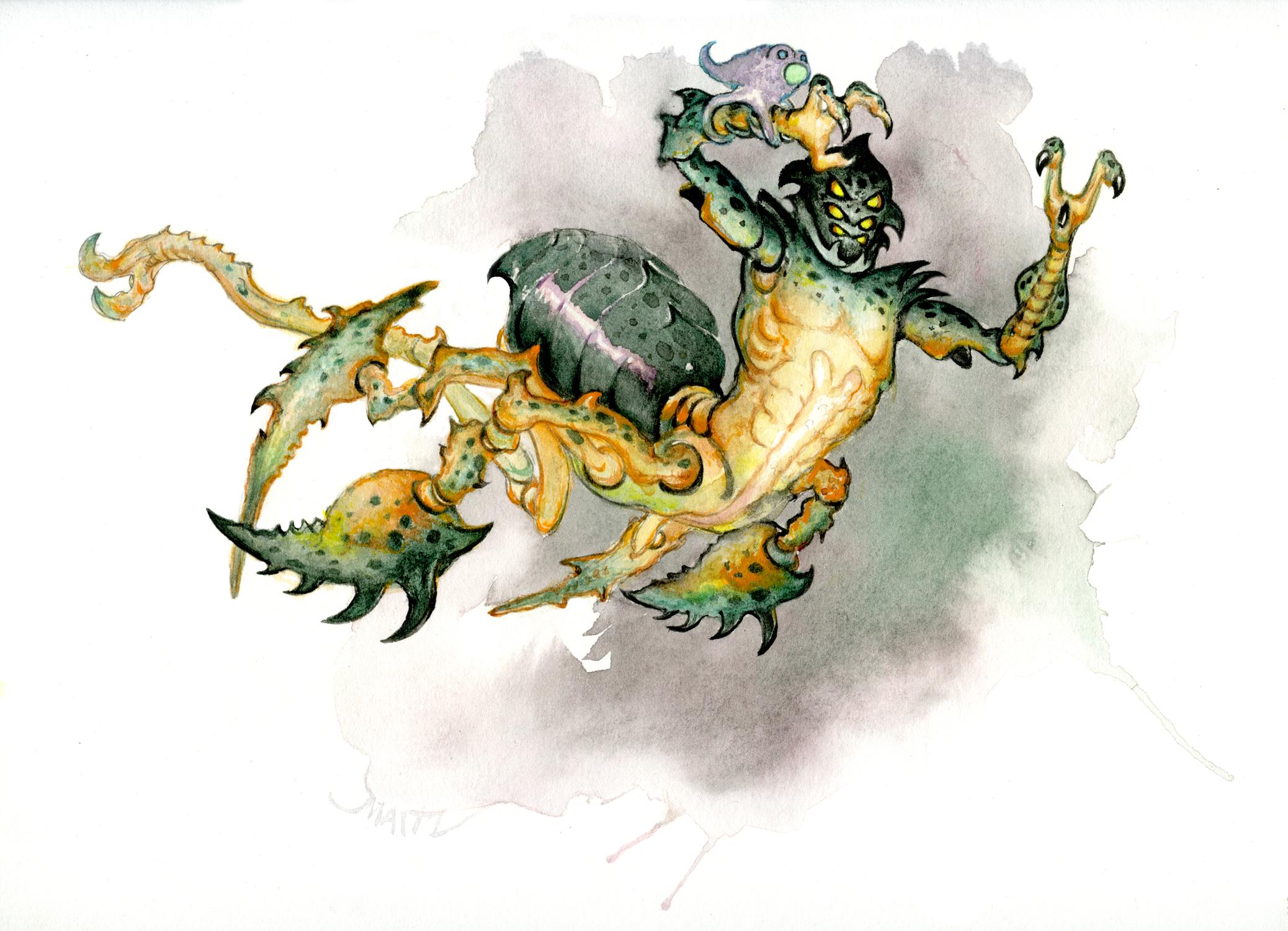 Alien Bug Leaping Artwork by Don  Maitz