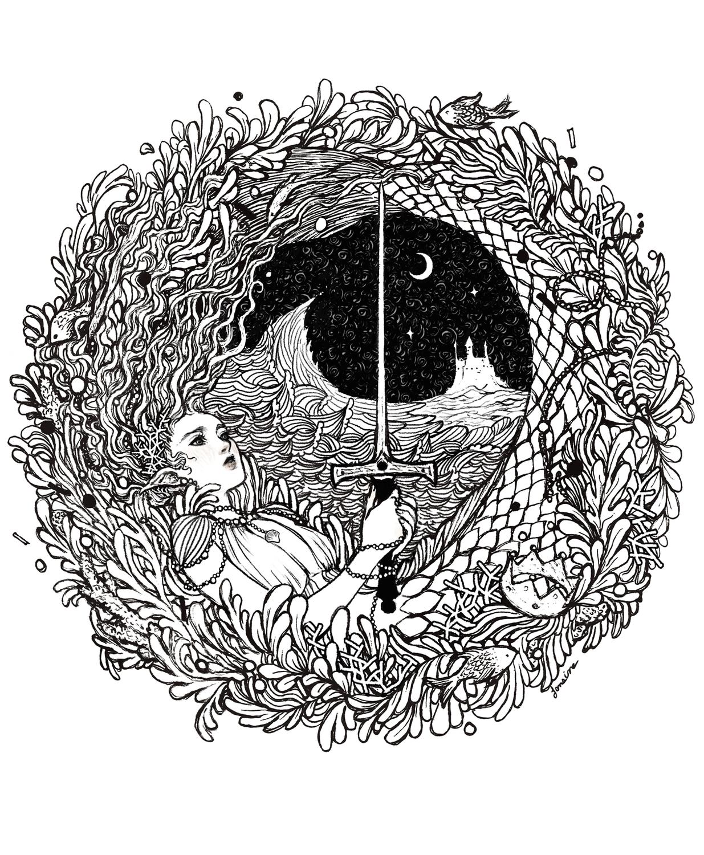 The Mermaid & The Sword Artwork by Janaina Medeiros