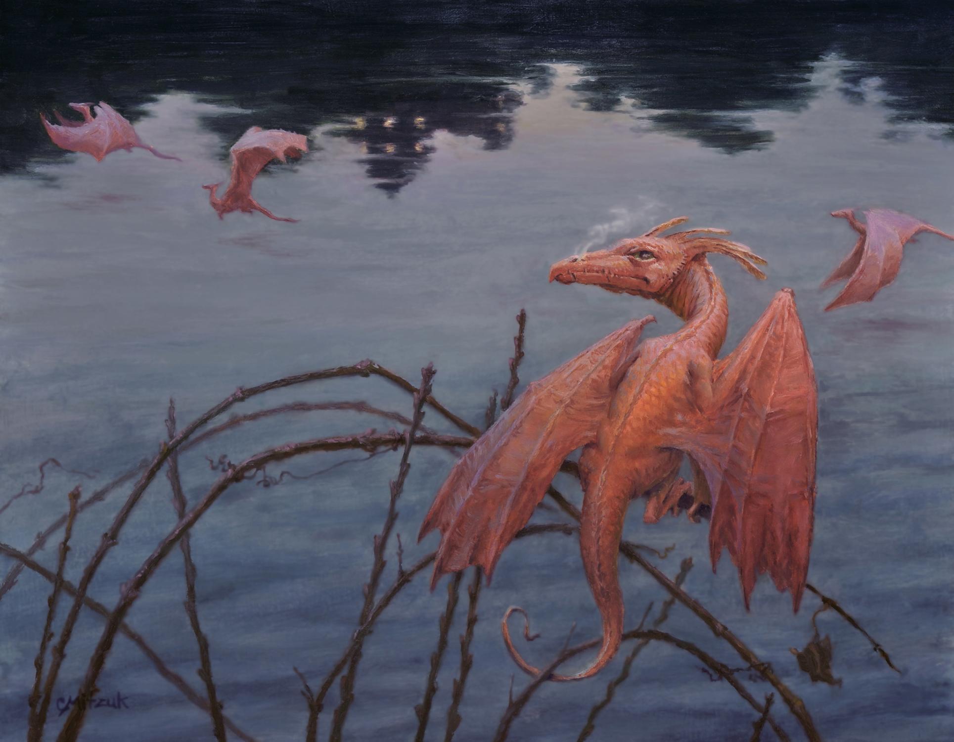 Flight at Dusk Artwork by Christine Mitzuk