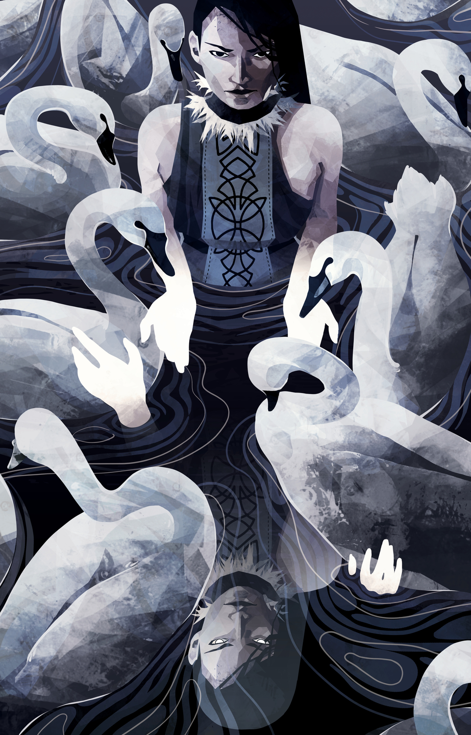 The Lady and her Swans Artwork by Micaela Dawn