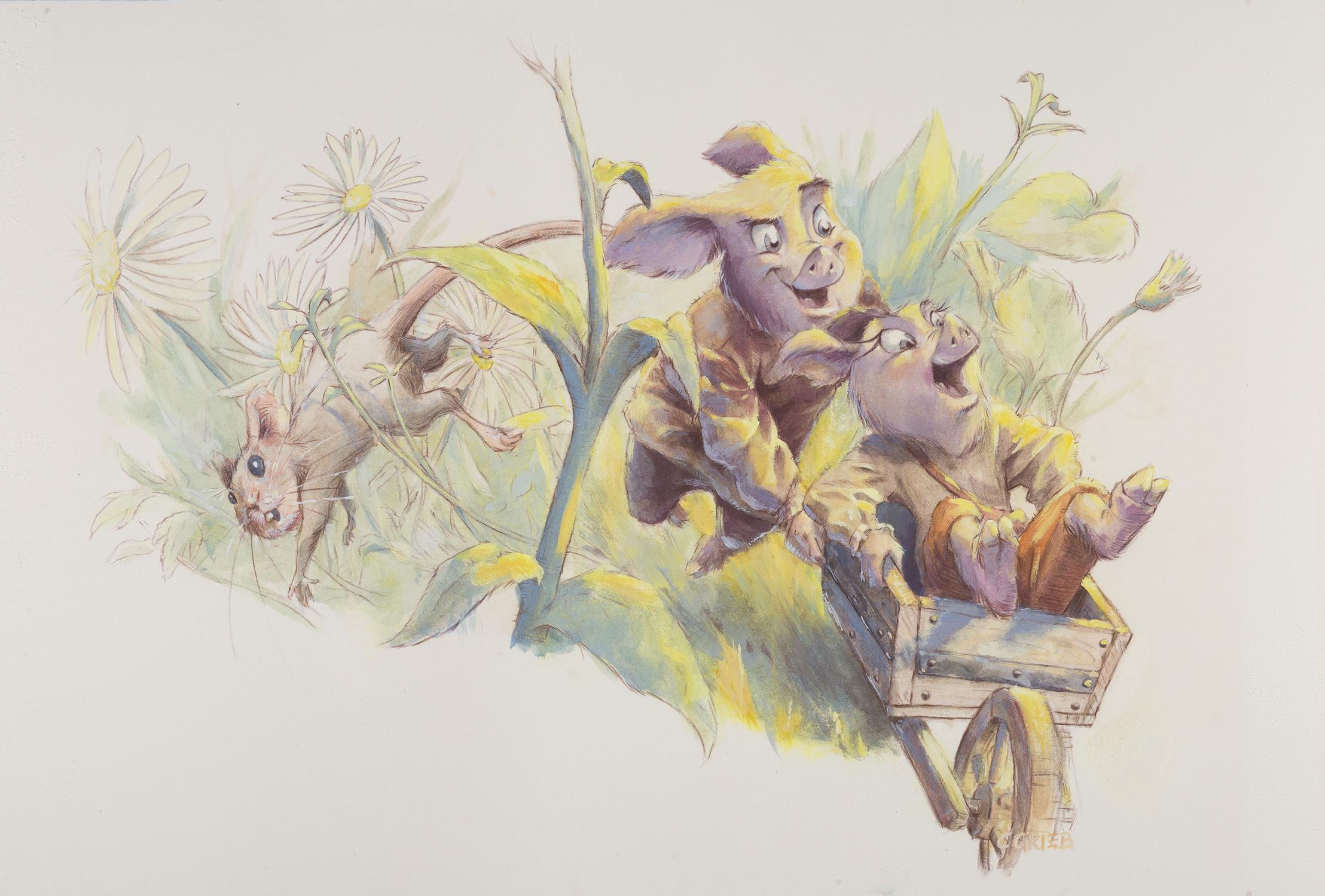 Riding in the Wheelbarrow Artwork by Chuck Grieb