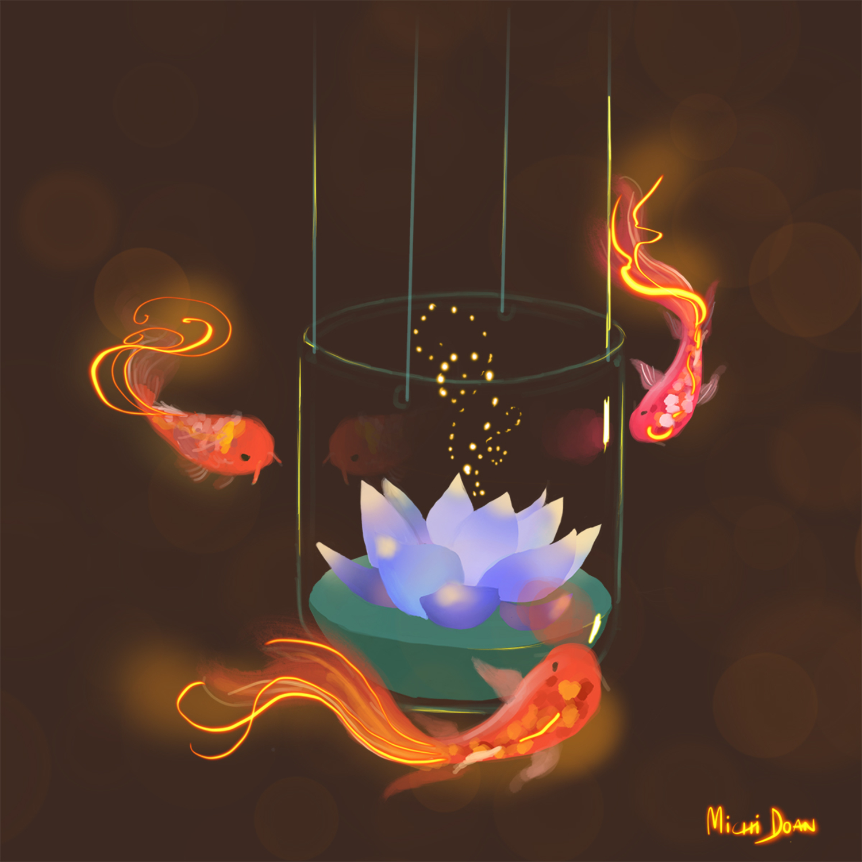 Lotus and Koi Artwork by Michi Doan