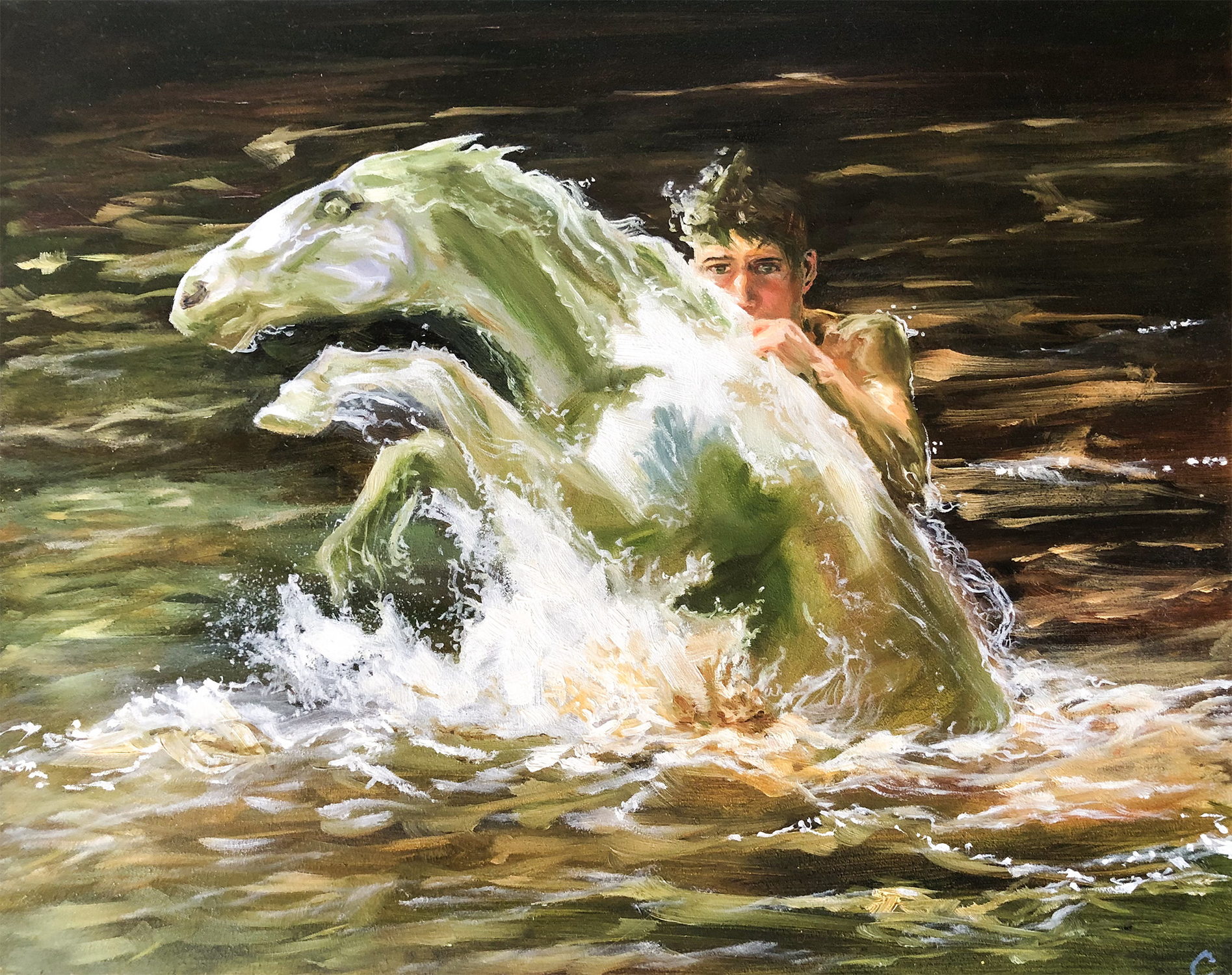 The River Axe and his Pony Artwork by Clare Henry McCanna