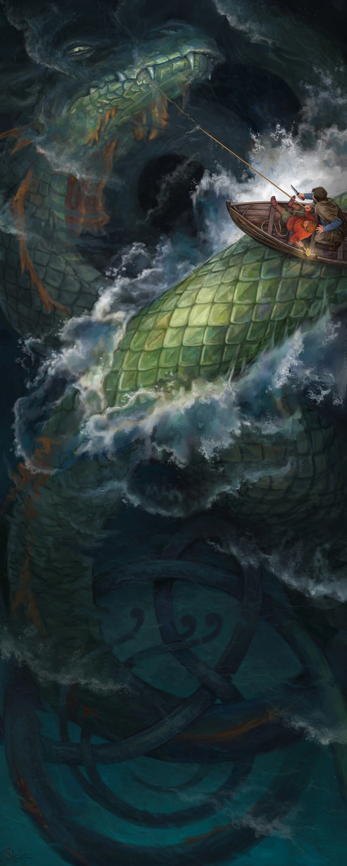 Thor's fishing trip Artwork by Stella Danelius