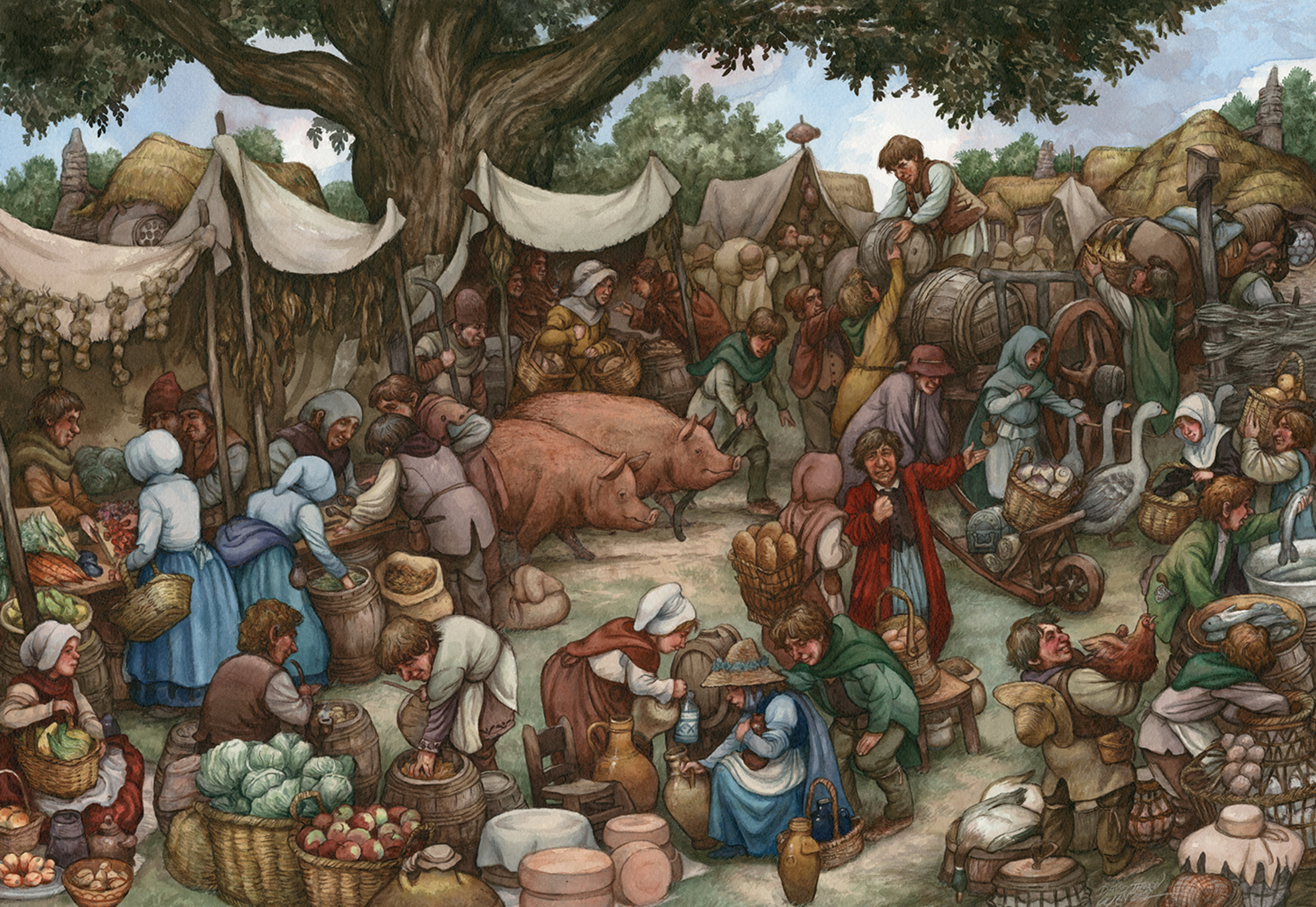 The Shire: East Farthing Market Artwork by David Wenzel