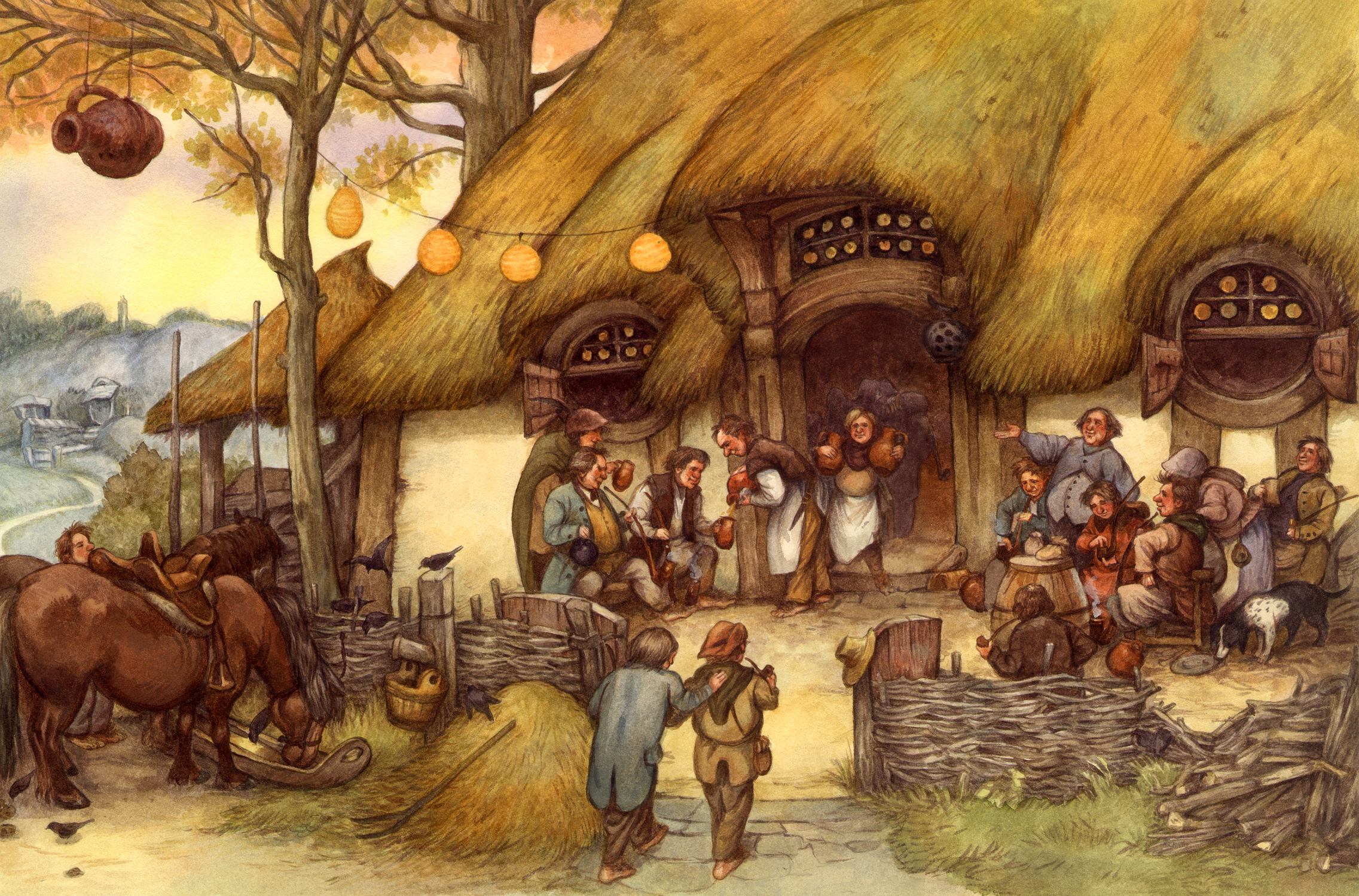 The Shire: tavern at Frogmorton Artwork by David Wenzel