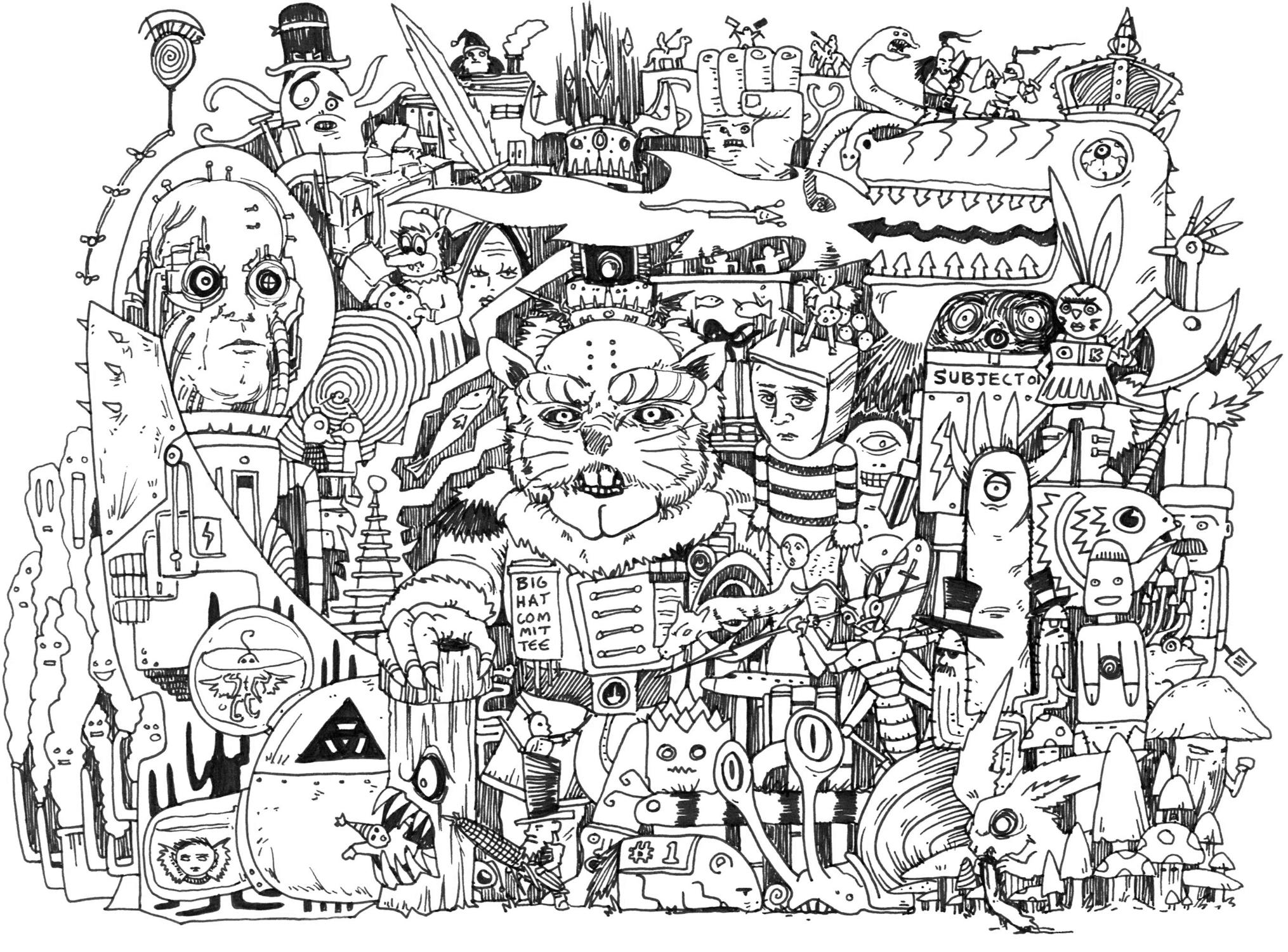 Big Hat Committee Artwork by Phillip Li