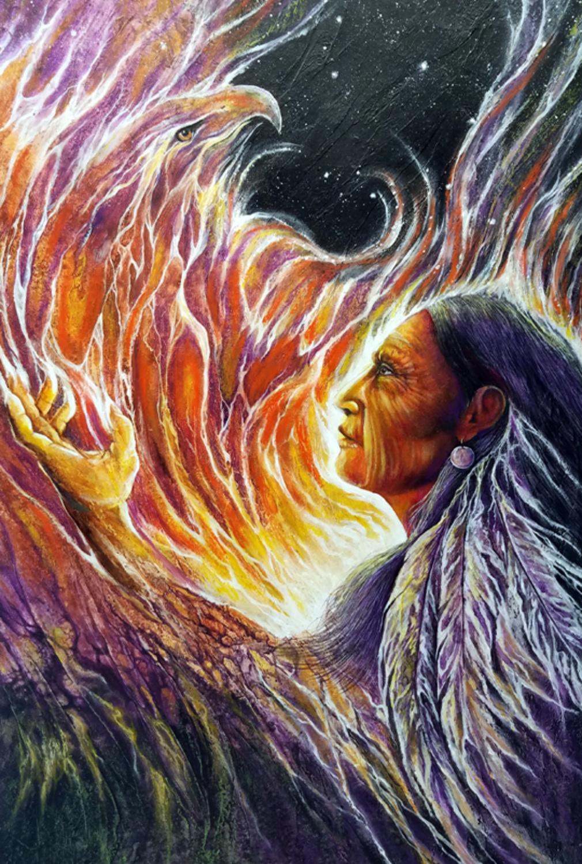 Rising of the Spirit Bird Artwork by Shel  Waldman