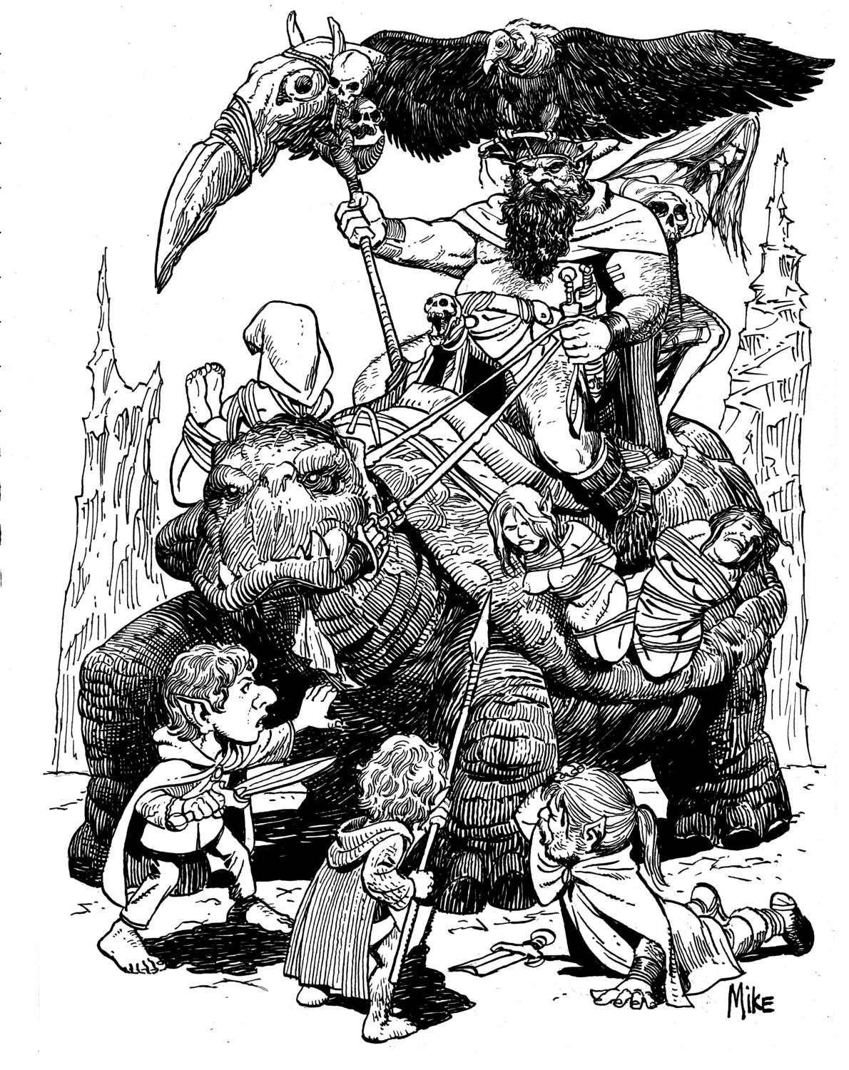 Turtle and Hobbits Artwork by Michael Manley