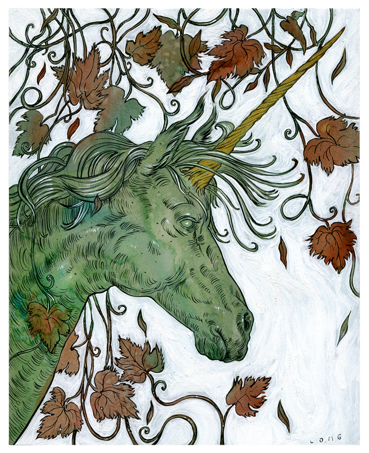 Unicorn of the Vines Artwork by Elliot Lang