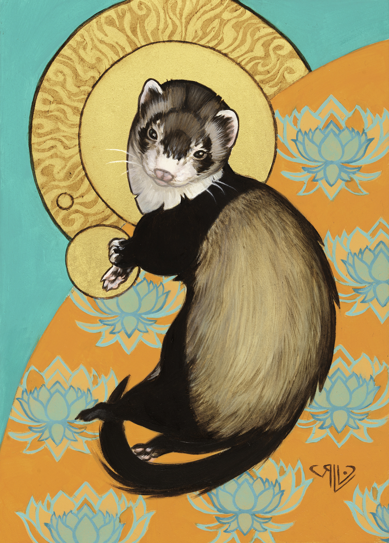 Loki Among the Loti Artwork by Rhonda Libbey