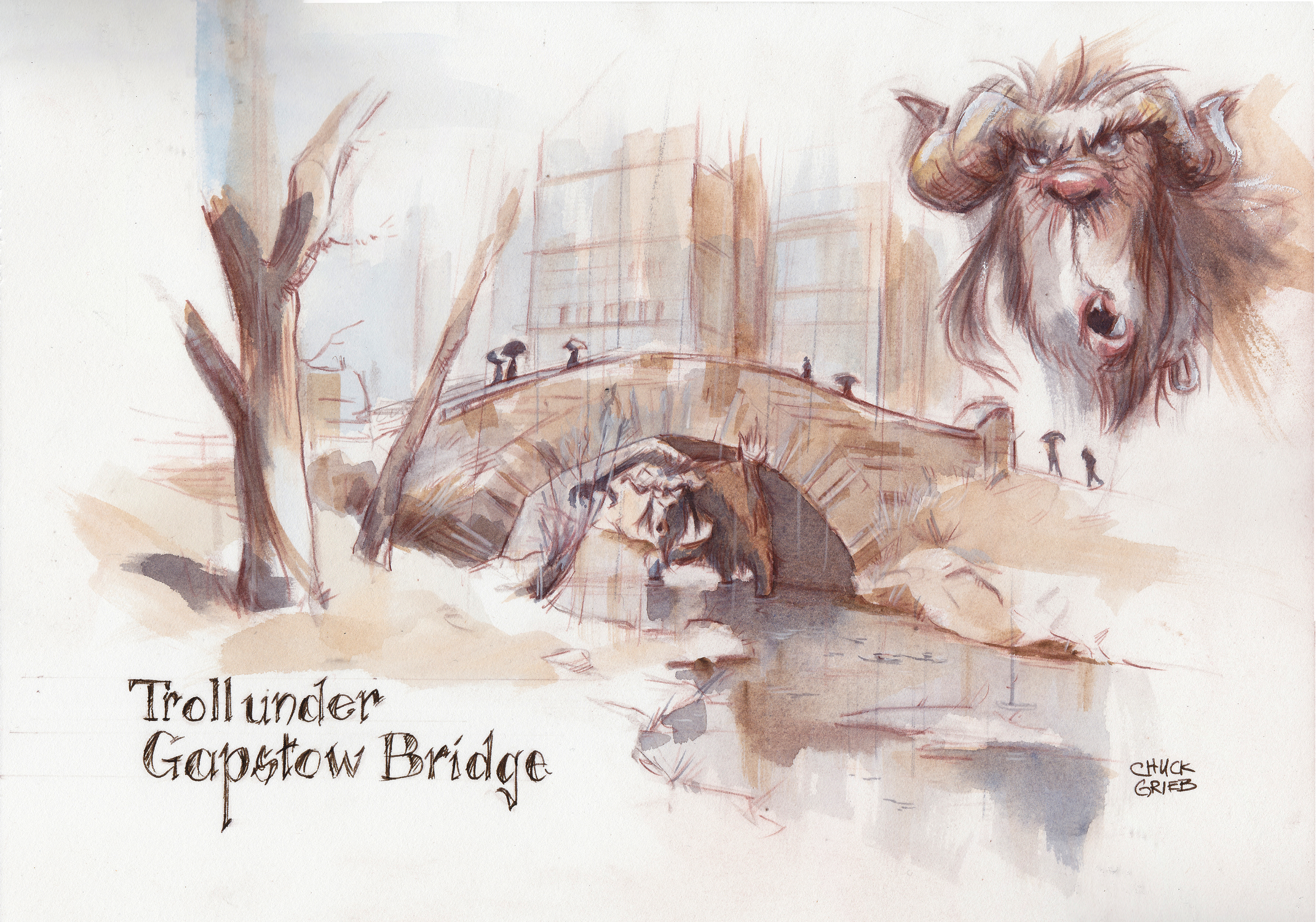 Troll Under Gapstow Bridge Artwork by Chuck Grieb