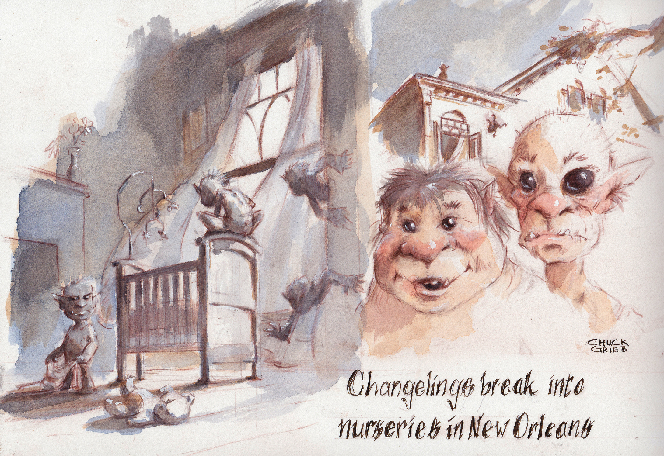 Changelings in New Orleans Artwork by Chuck Grieb