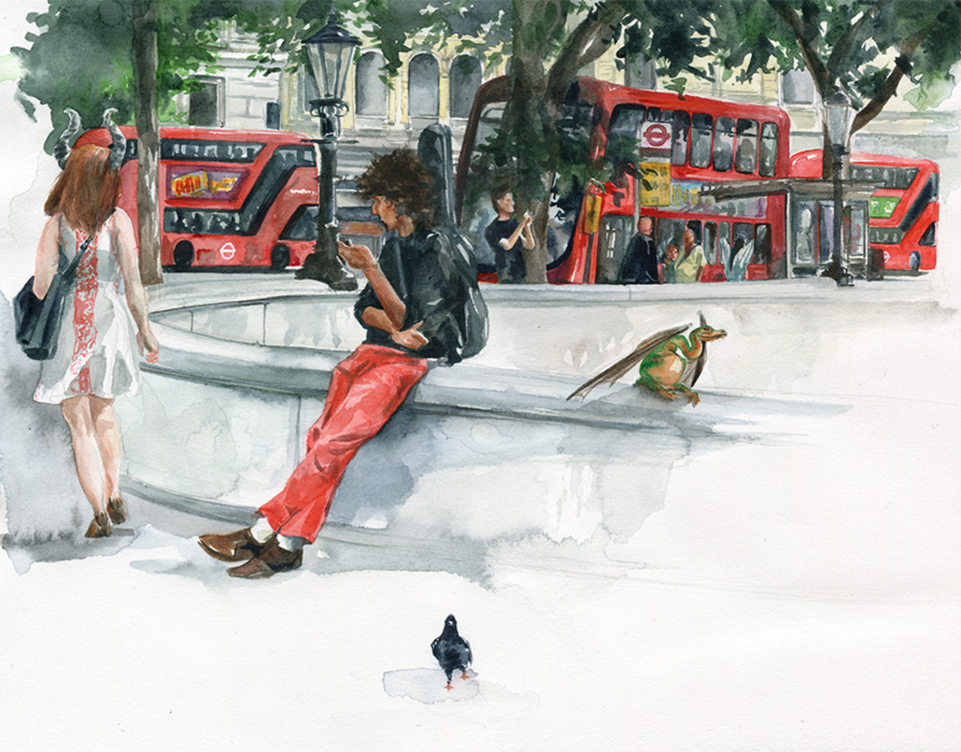 Edge of Trafalgar Square Artwork by Clare Henry McCanna