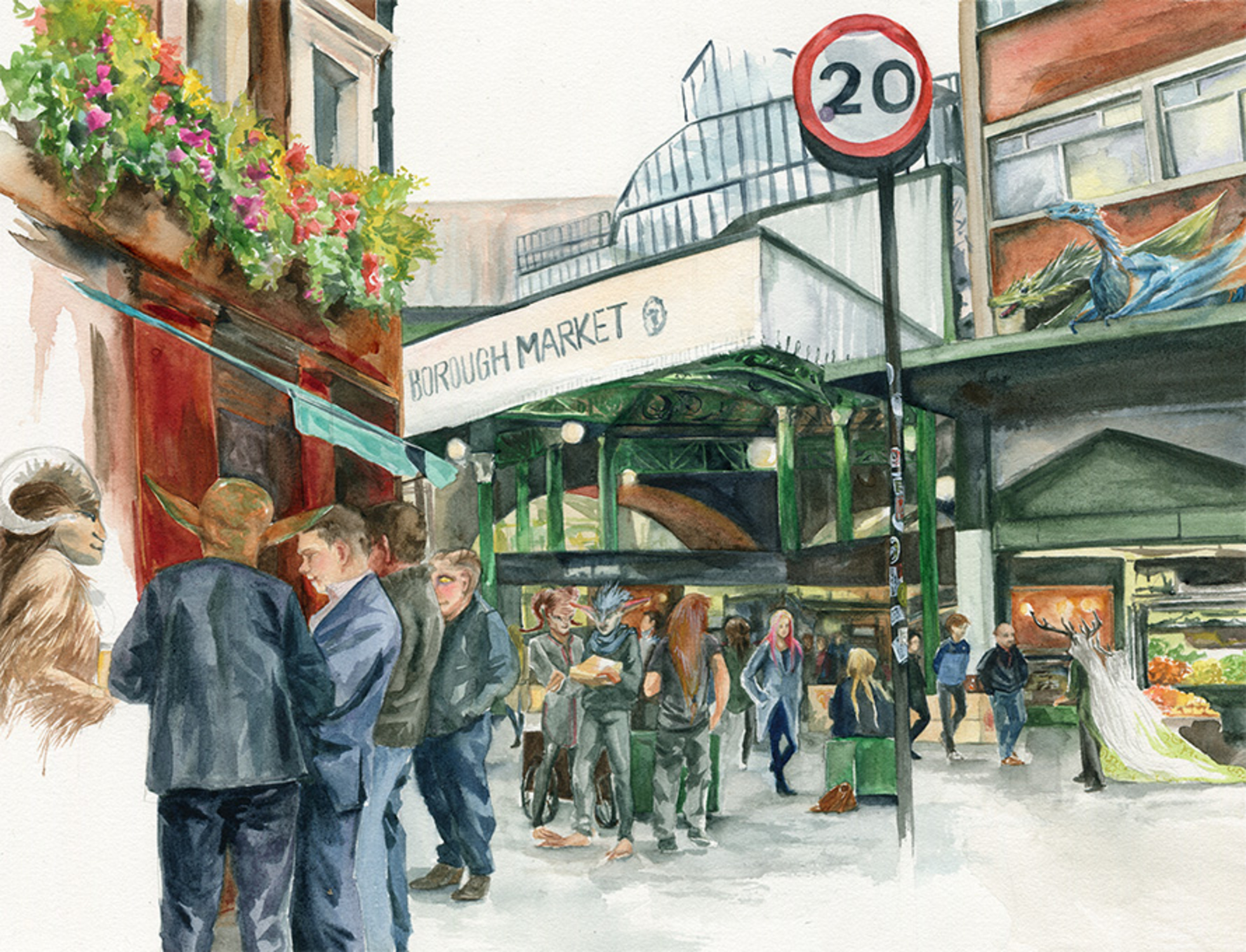 Borough Market, Southwark Artwork by Clare Henry McCanna