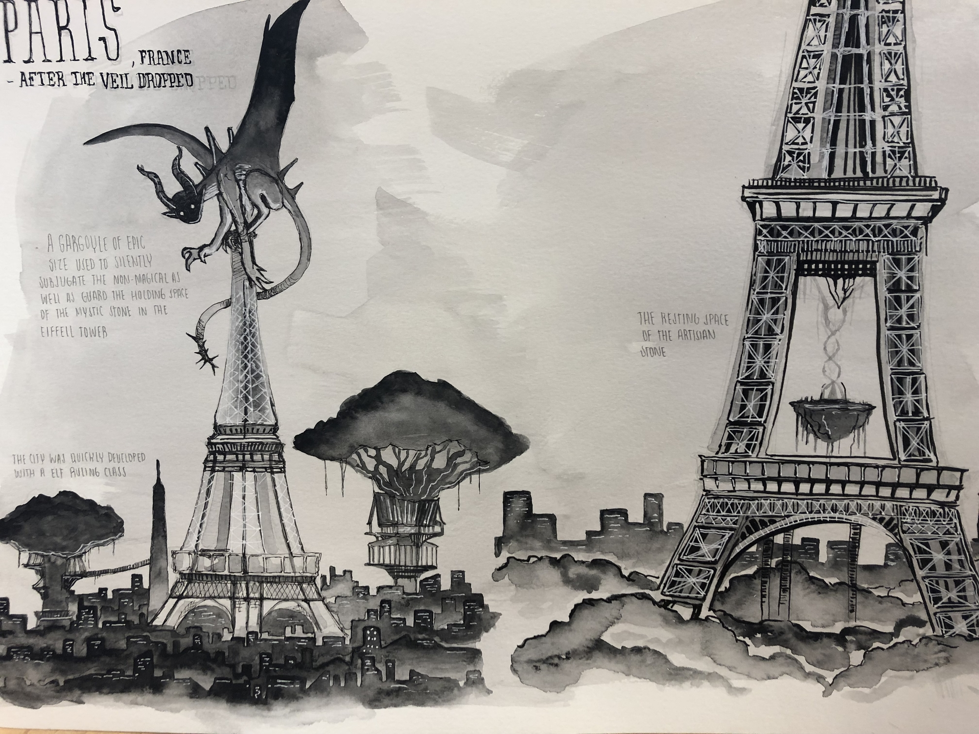 Paris under the elves p1 Artwork by eddie torres