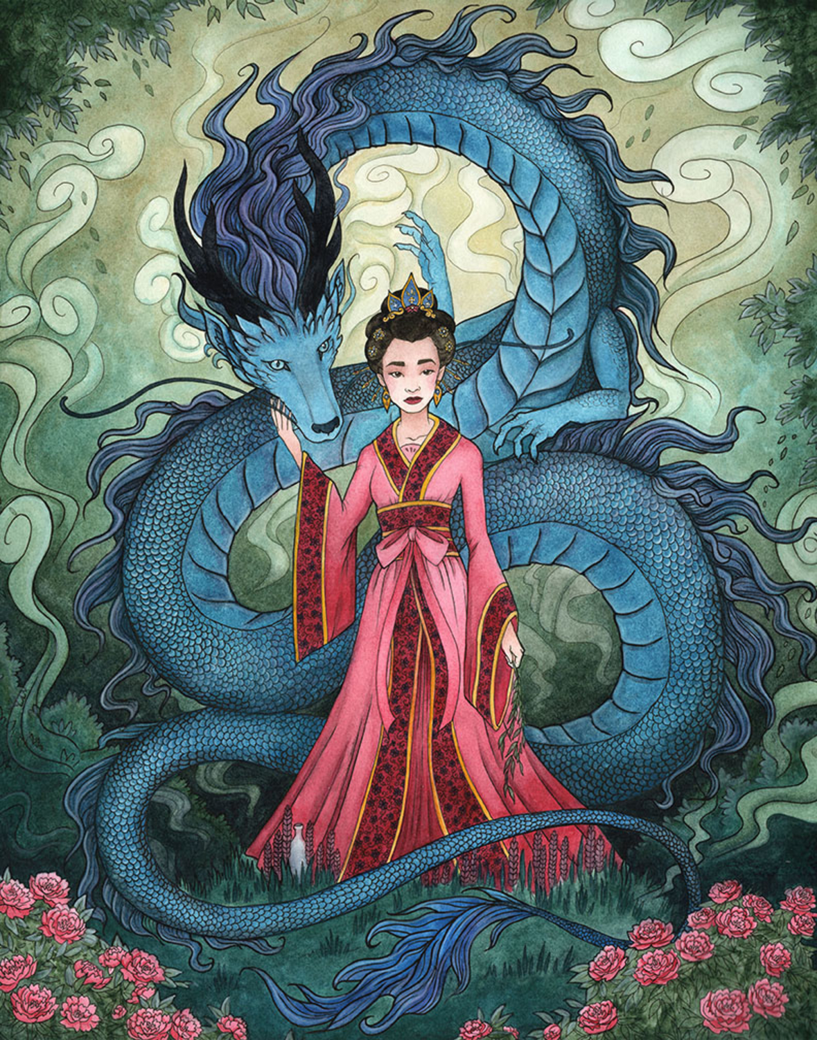 Quan Yin and the Dragon Artwork by Madalyn McLeod