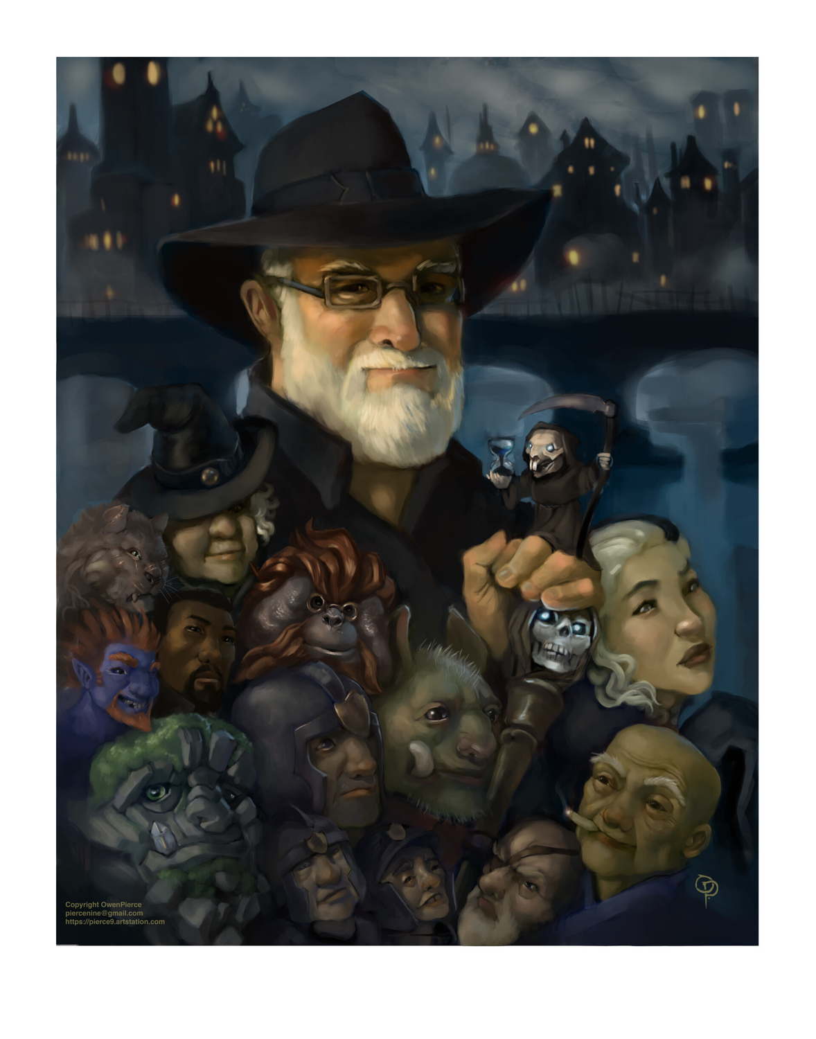 Terry Pratchett Tribute Artwork by owen pierce