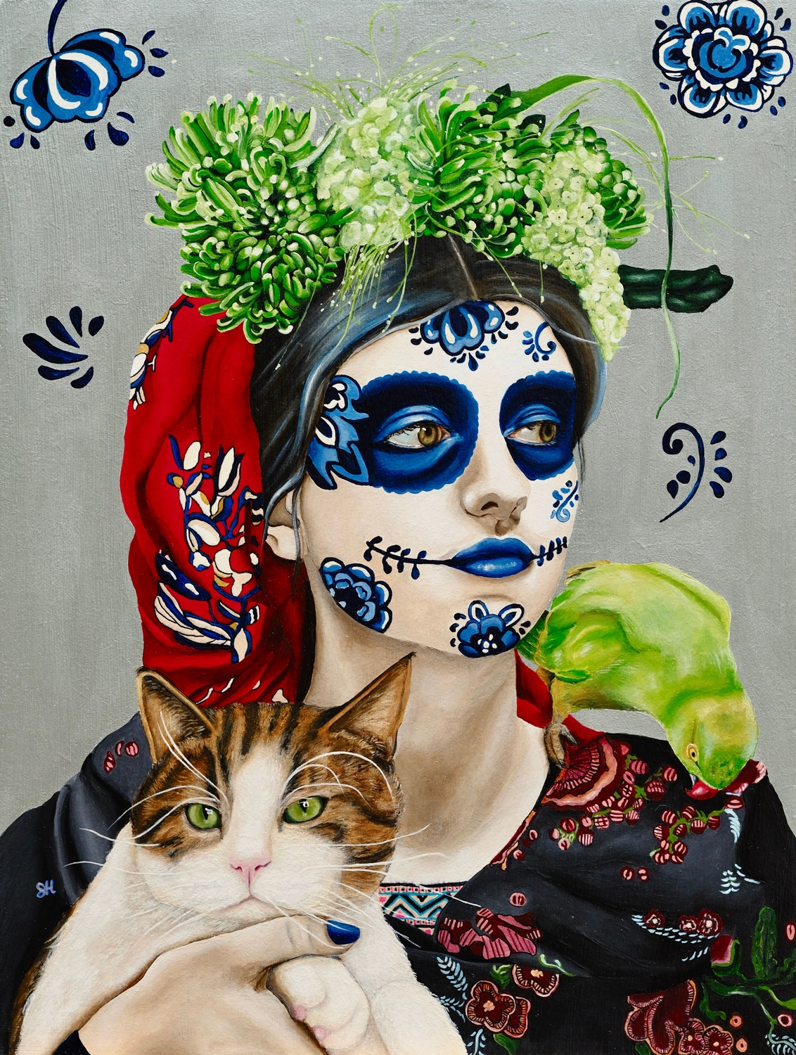 Portrait of a Girl with Cat and Bird Artwork by Saskia Huitema
