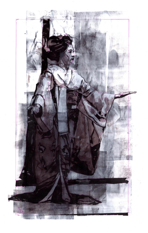 INKtober Geisha #4 Artwork by Bud Cook