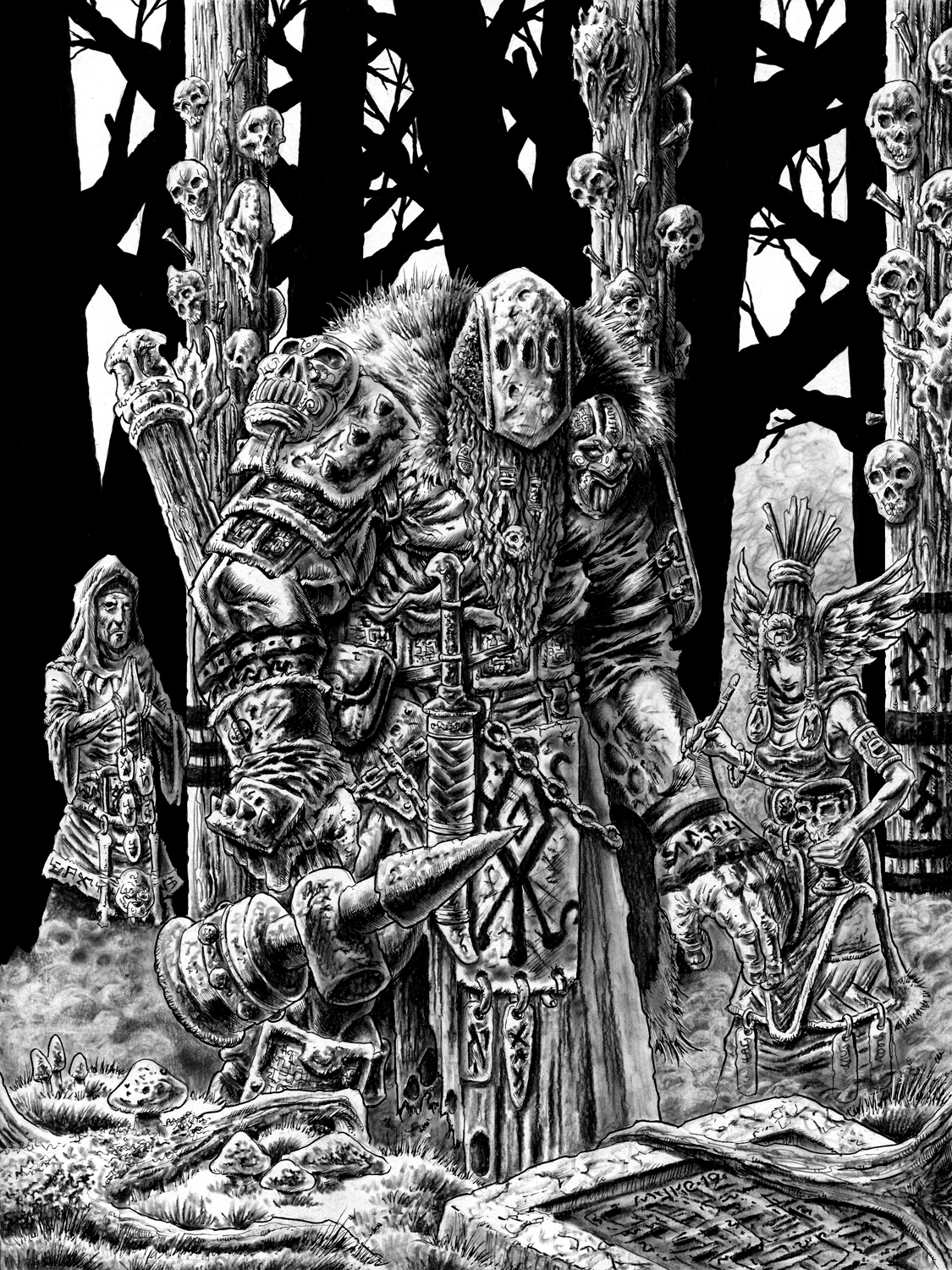 Shamans Prepare A Giant For War- Blood & Ashes Artwork by Michael Rechlin