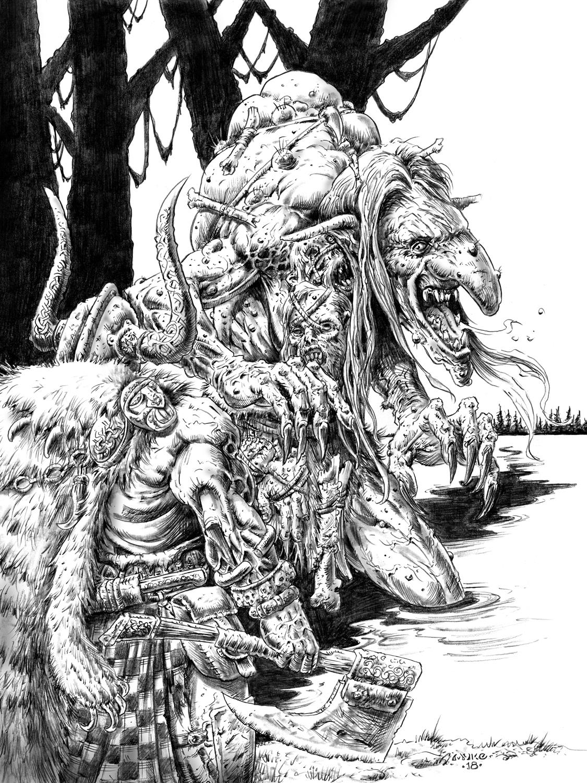 Bone Hag Giant- Blood & Ashes Artwork by Michael Rechlin