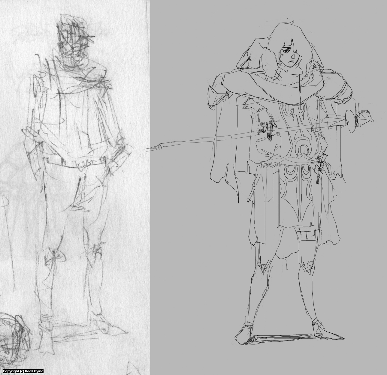 Jedi Madame - Character design process 01 | Pose & Clothes  Artwork by Boell Oyino