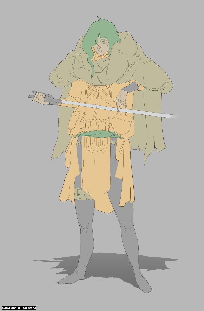 Jedi Madame - Character design process 02 | Lineart & flat colors Artwork by Boell Oyino