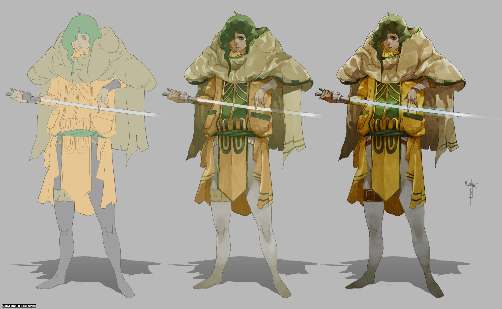 Jedi Madame - Character design process 03 | Painting Artwork by Boell Oyino