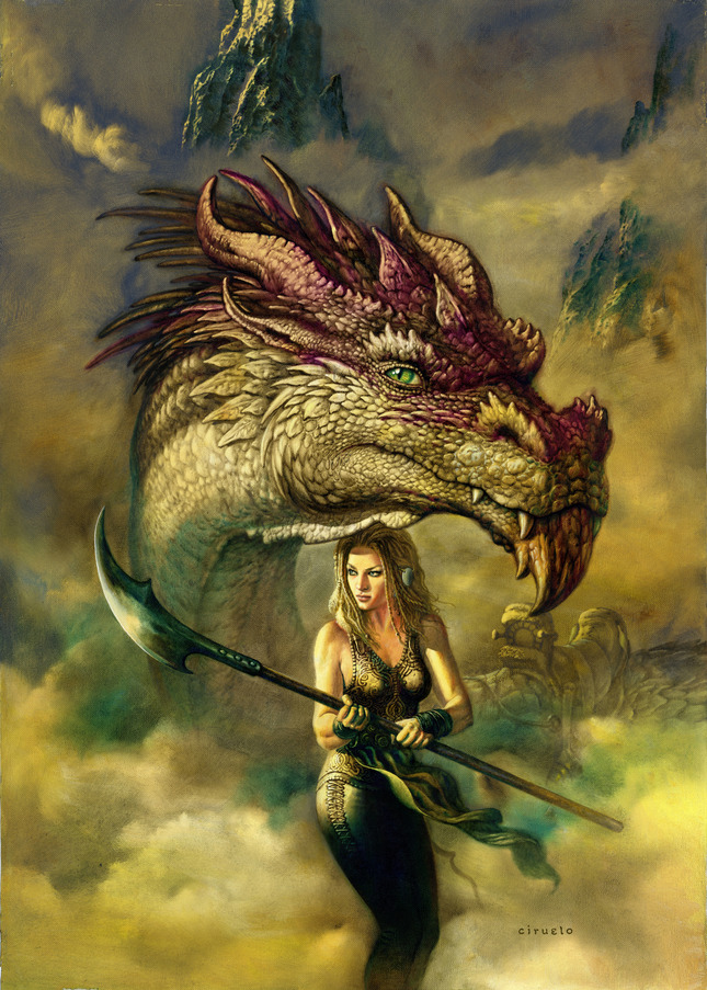 The Amazon and her Dragon Artwork by Ciruelo Cabral